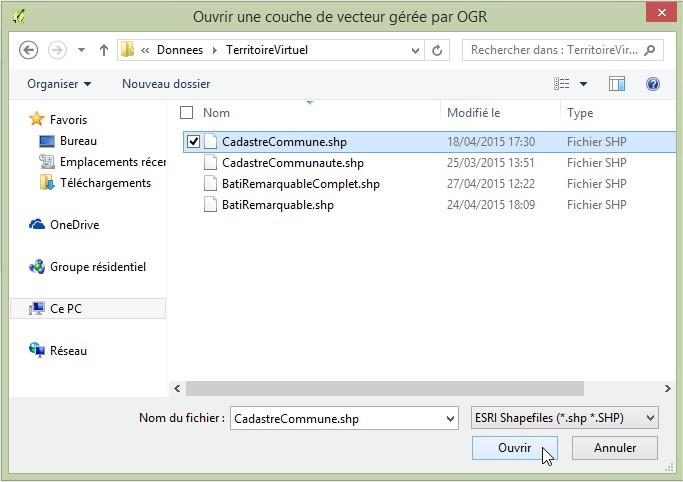 Impuls'Map - Tutoriel - Afficher des données vectorielles dans Qgis - Choisir données