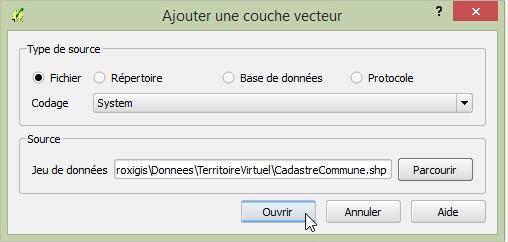 Impuls'Map - Tutoriel - Jointure Spatiale avec Qgis - Ajouter Couche Ouvrir