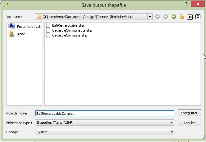 Impuls'Map - Tutoriel - Jointure Spatiale avec Qgis - Enregistrer Shapefile