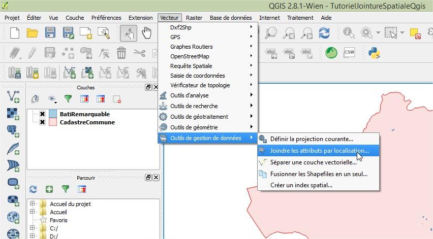 Impuls'Map - Tutoriel - Jointure Spatiale avec Qgis - Paramétrer Jointure