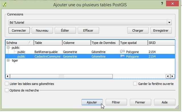 Impuls'Map - Tutoriel - Afficher Donnees Postgis dans Qgis - Ajouter Table