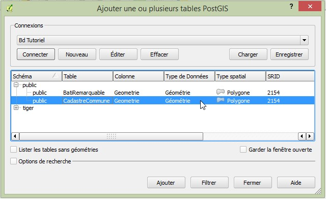 Impuls'Map - Tutoriel - Afficher Donnees Postgis dans Qgis - Sélection Table