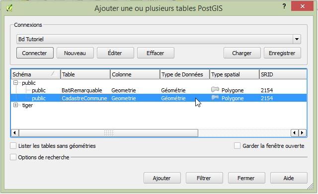 Impuls'Map - Tutoriel - Afficher Donnees Postgis dans Qgis - Sélection Table