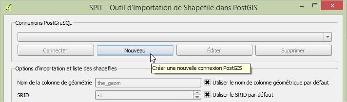Impuls'Map - Tutoriel - Importer Shapefile Postgis QGIS SPIT - Nouvelle Connexion Postgis