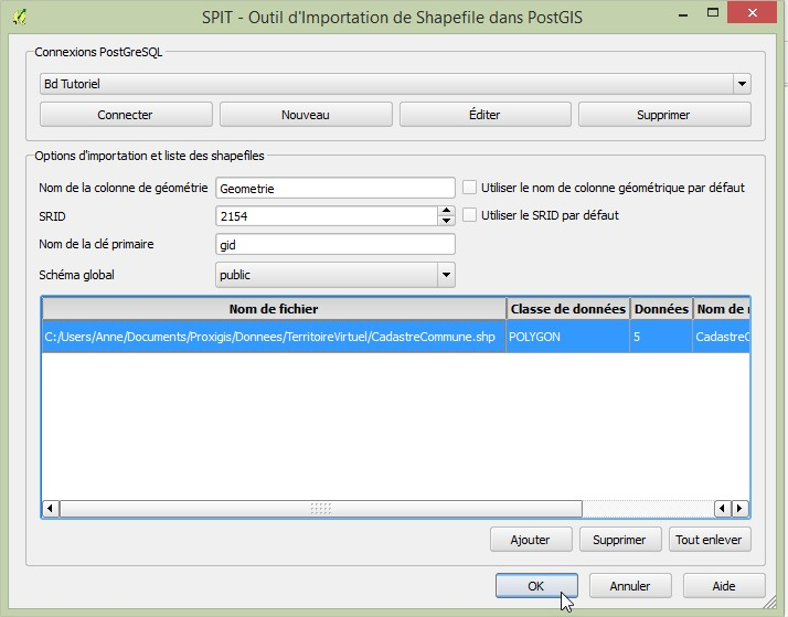 Impuls'Map - Tutoriel - Importer Shapefile Postgis QGIS SPIT - Lancer Import Shapefile