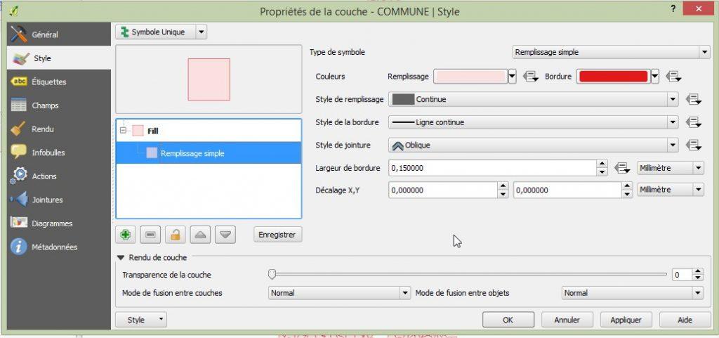 Impuls'Map - Tutoriel - Effectuer Analyse Thématique Qgis - Onglet Style