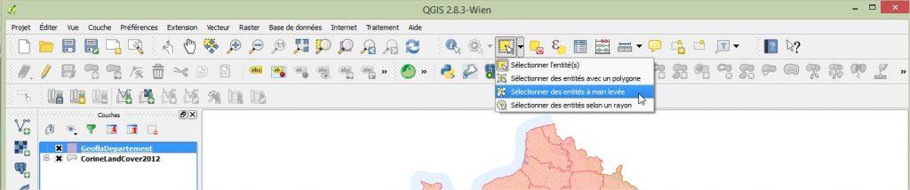 Impuls'Map - Tutoriel - Effectuer Pochoir Masque QGIS - Sélection Entités Main Levée