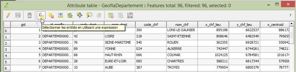 Impuls'Map - Tutoriel - Effectuer Pochoir Masque QGIS - Bouton Sélection Attributs