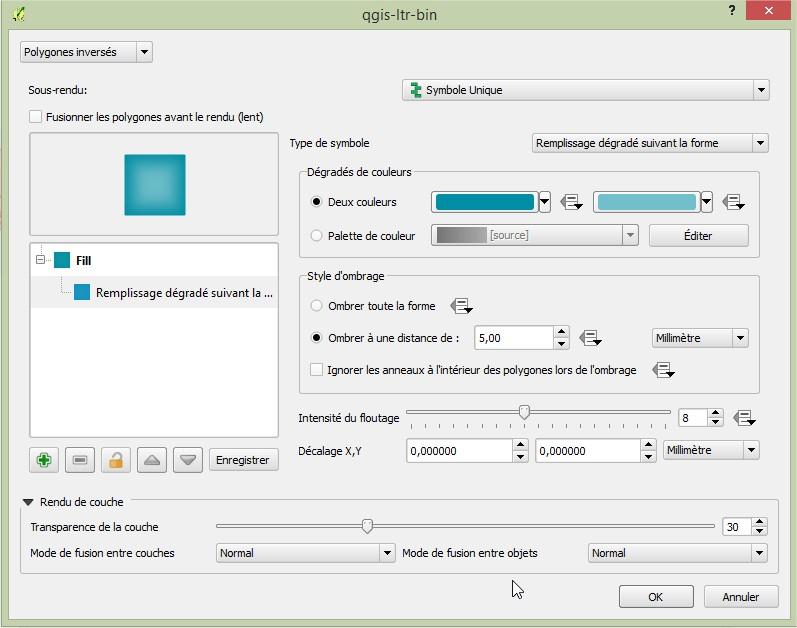 Impuls'Map - Tutoriel - Effectuer Pochoir Masque QGIS - Remplissage Degradé Paramètres