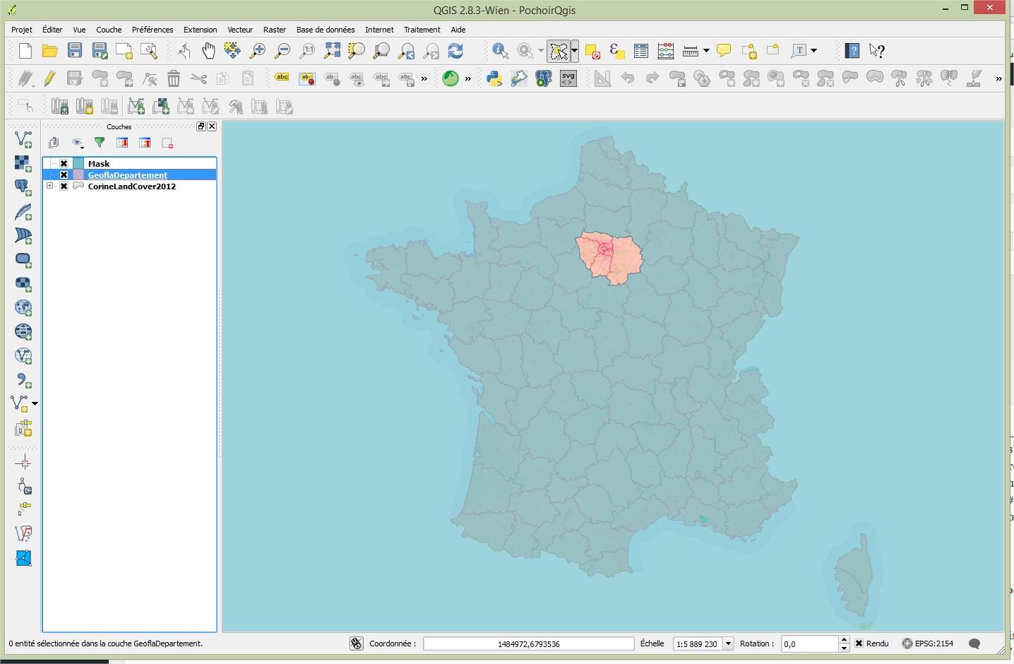 Impuls'Map - Tutoriel - Effectuer Pochoir Masque QGIS - Remplissage Simple Résultat