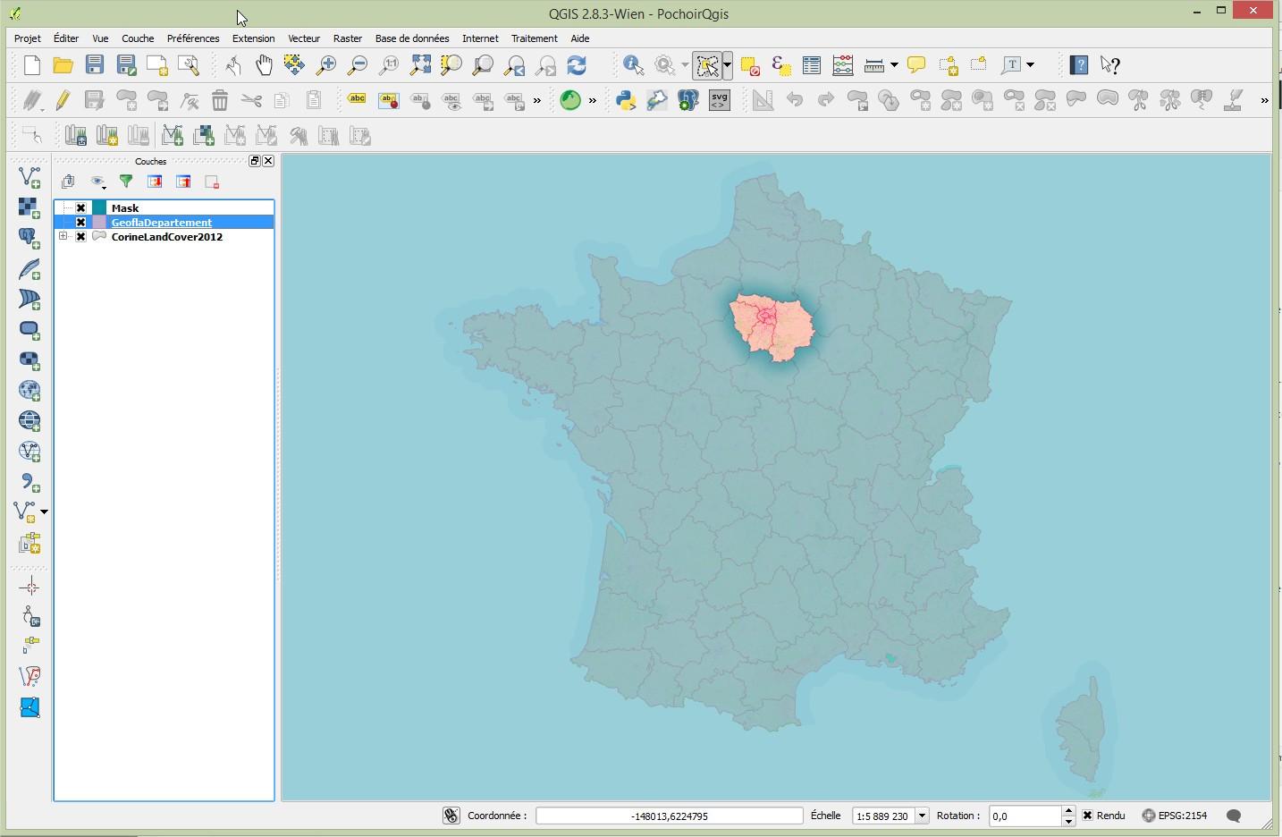 Impuls'Map - Tutoriel - Effectuer Pochoir Masque QGIS - Remplissage Degradé Résultat