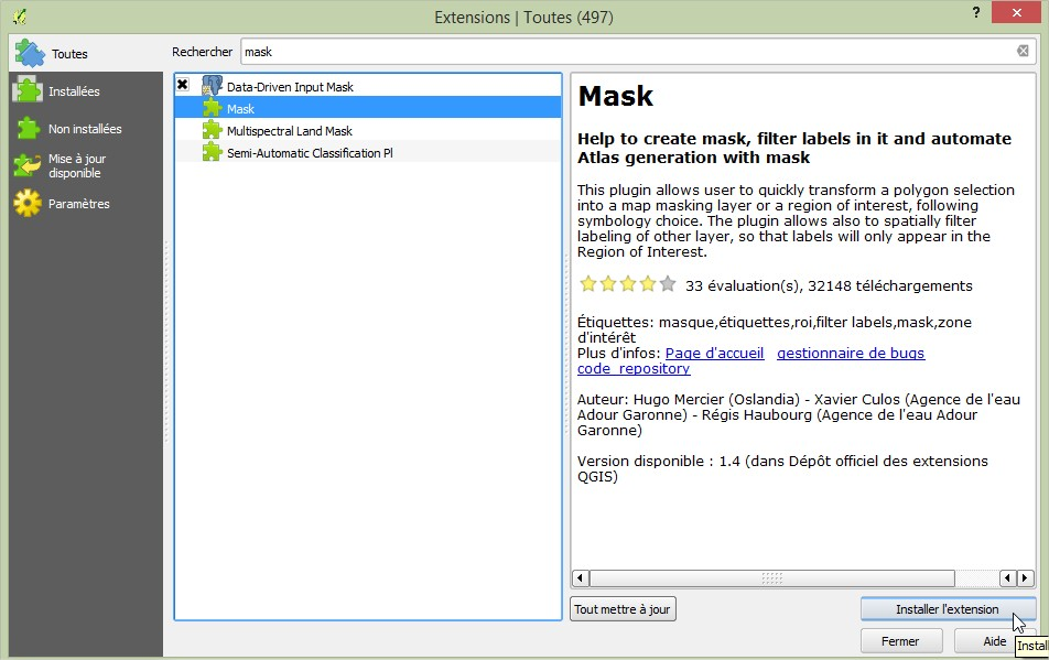 Impuls'Map - Tutoriel - Effectuer Pochoir Masque QGIS - Installer Extension Mask