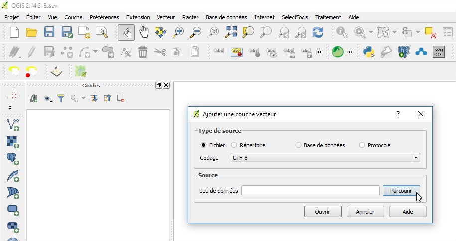 Impuls'Map - Tutoriel - Exploiter OSM QGIS - Ajouter Couche Vecteur
