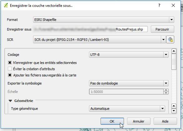Impuls'Map - Tutoriel - Exploiter OSM QGIS - QGIS Enregistrer couche