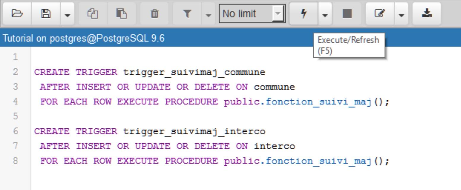 Tutoriel Impuls'Map - Trigger suivi mises à jour PostgreSQL PostGIS - Create Trigger