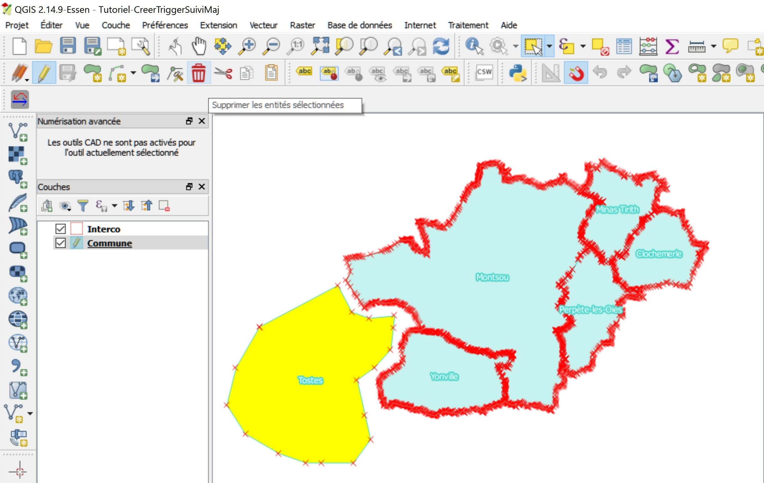 Tutoriel Impuls'Map - Trigger suivi mises à jour PostgreSQL PostGIS - QGIS Supprimer Entité