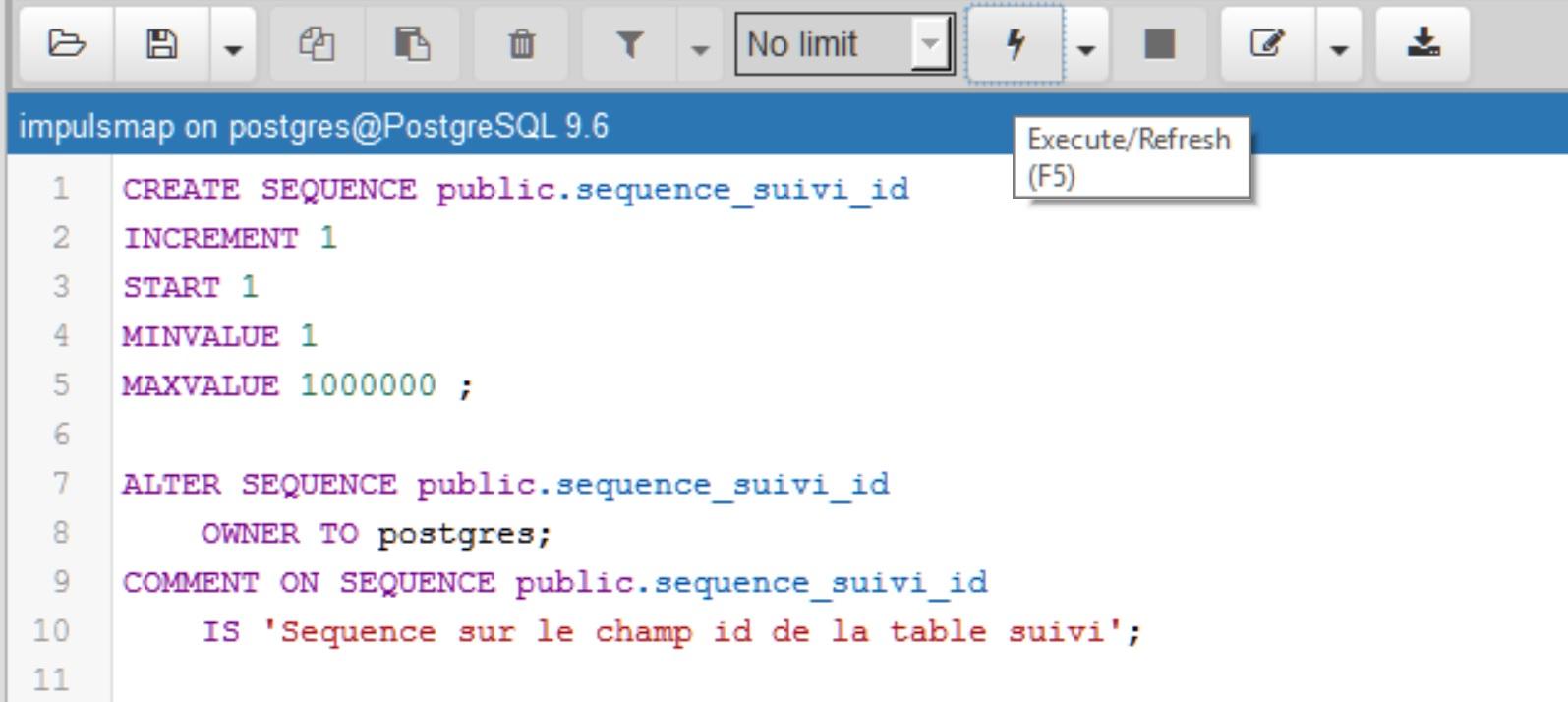 Tutoriel Impuls'Map - Trigger suivi mises à jour PostgreSQL PostGIS - Create Sequence