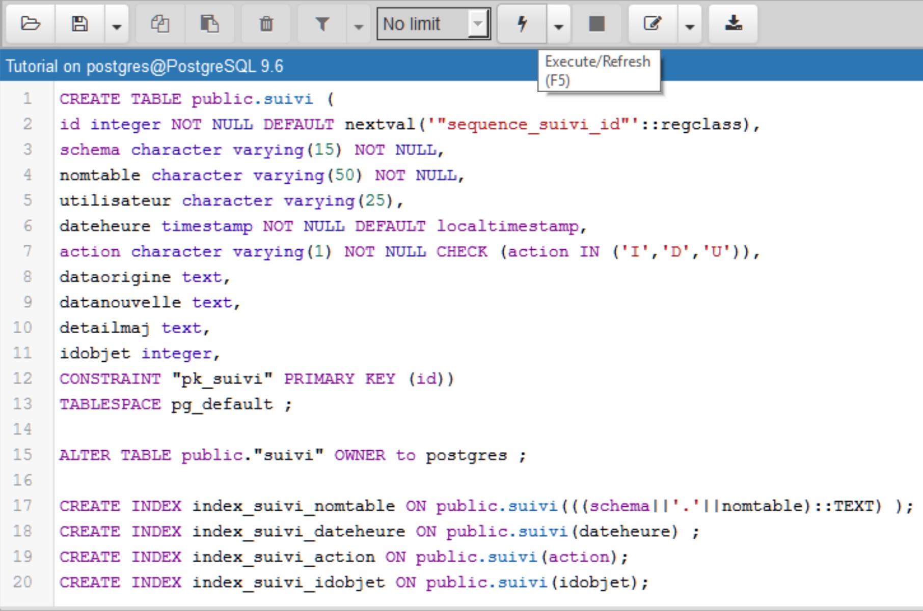 Tutoriel Impuls'Map - Trigger suivi mises à jour PostgreSQL PostGIS - Create Table